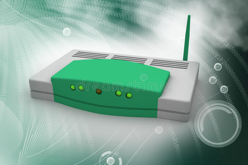 Wireless router. In color background royalty free stock image