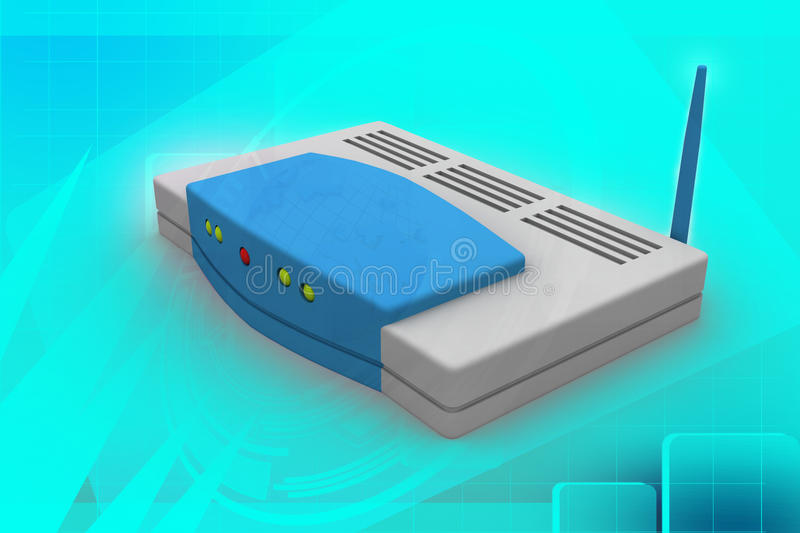 Wireless router. In light blue colour background stock image