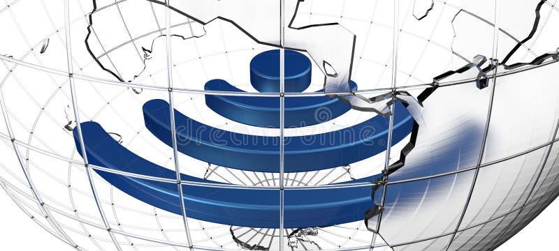 Wireless sign inside glass Earth globe vector illustration