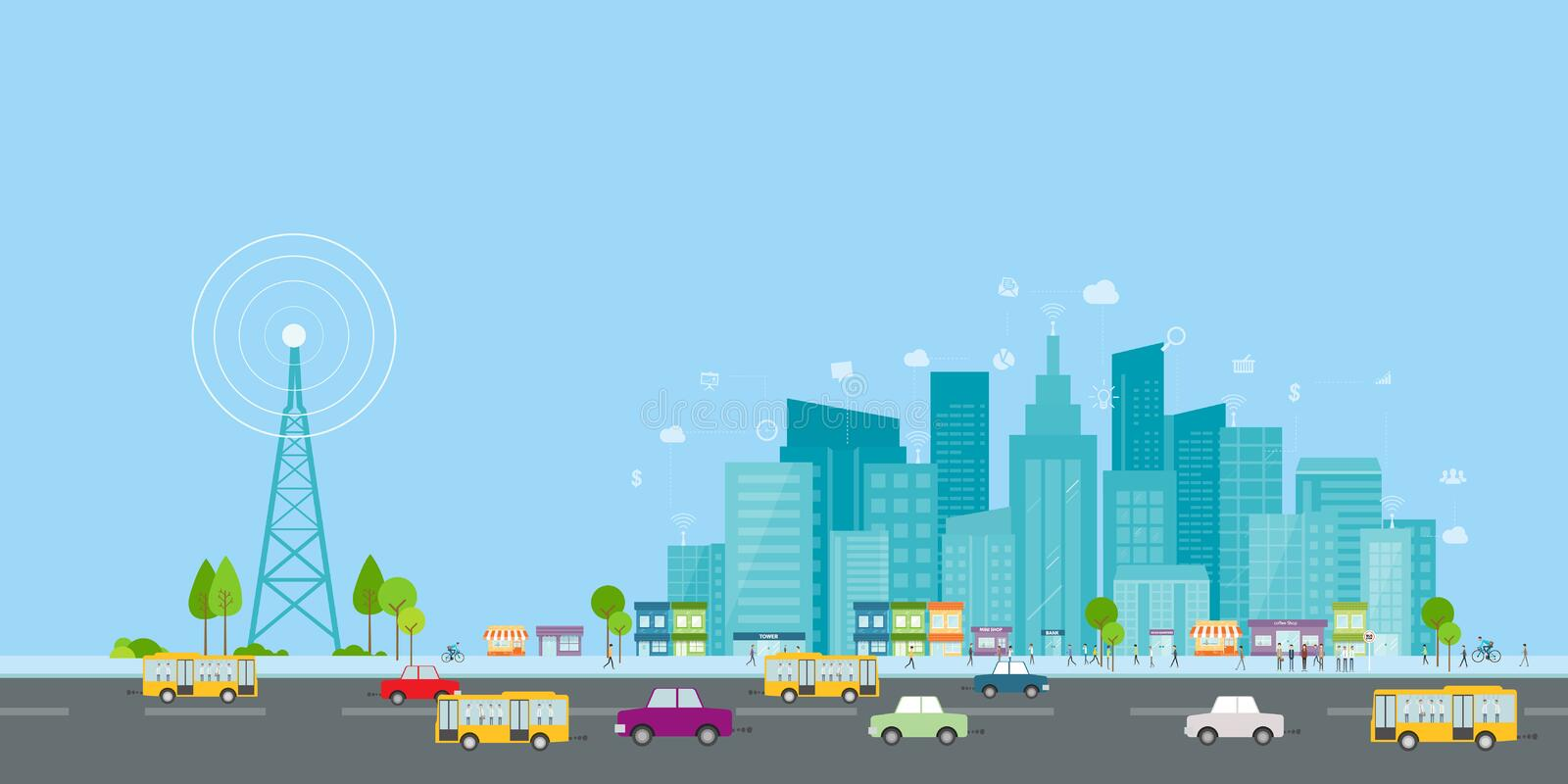 Wireless signal of internet in business city.internet connection.social on line business. Wireless signal of internet in business city concept stock illustration