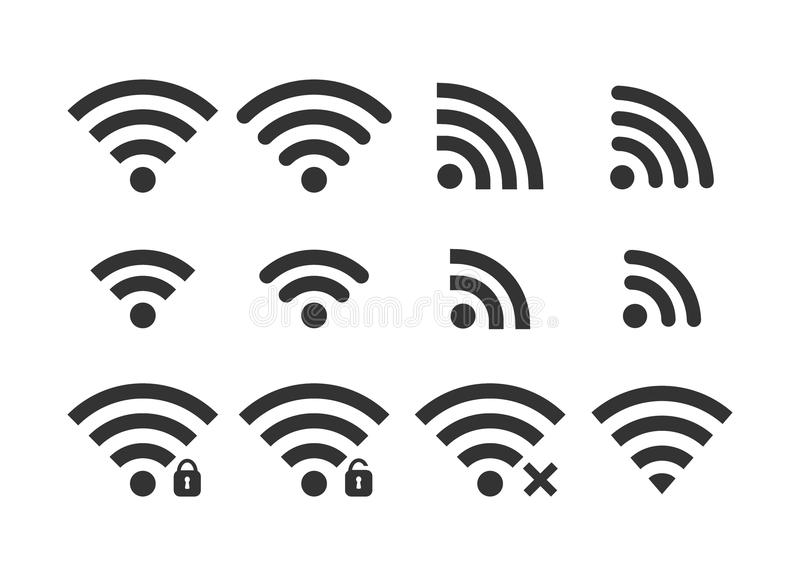 Wireless signal web icon set. Wi fi icons. Secured, unsecured, no connection, password protected icons. stock illustration