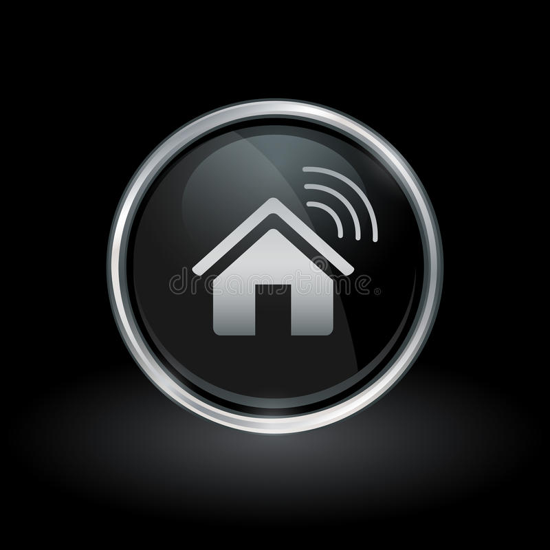 Wireless smart home icon inside round silver and black emblem stock illustration
