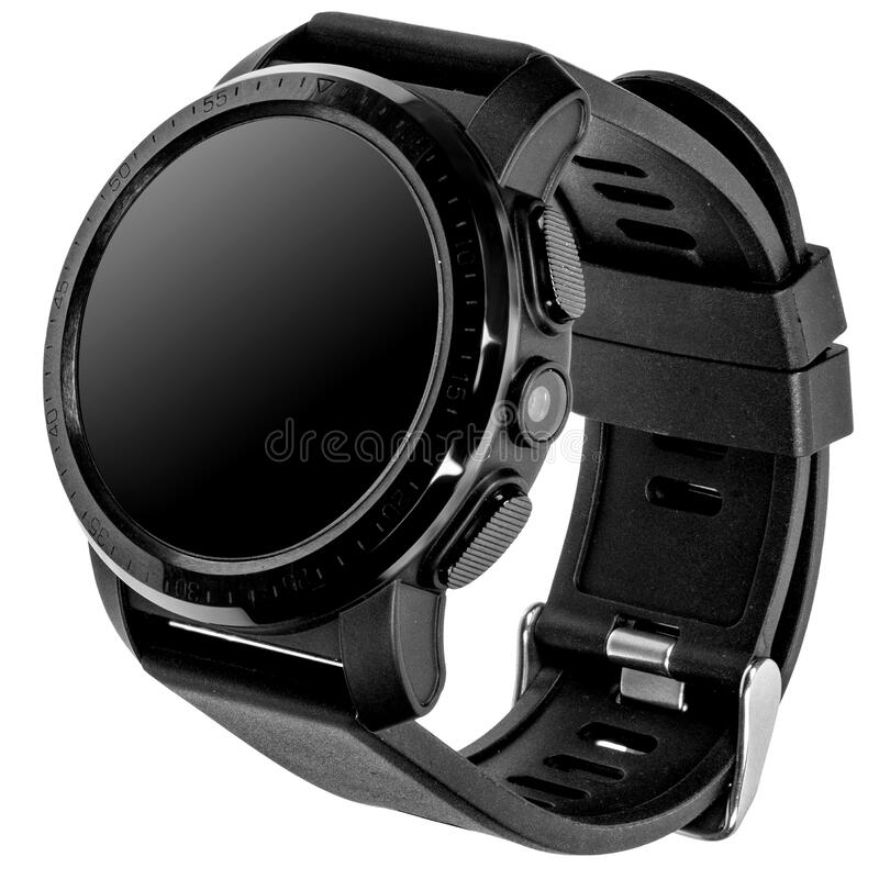Wireless smart watch in a round glossy black case with numbers on the rim, buttons and a camera. And a silicone strap on a white background. Three quarter view stock images