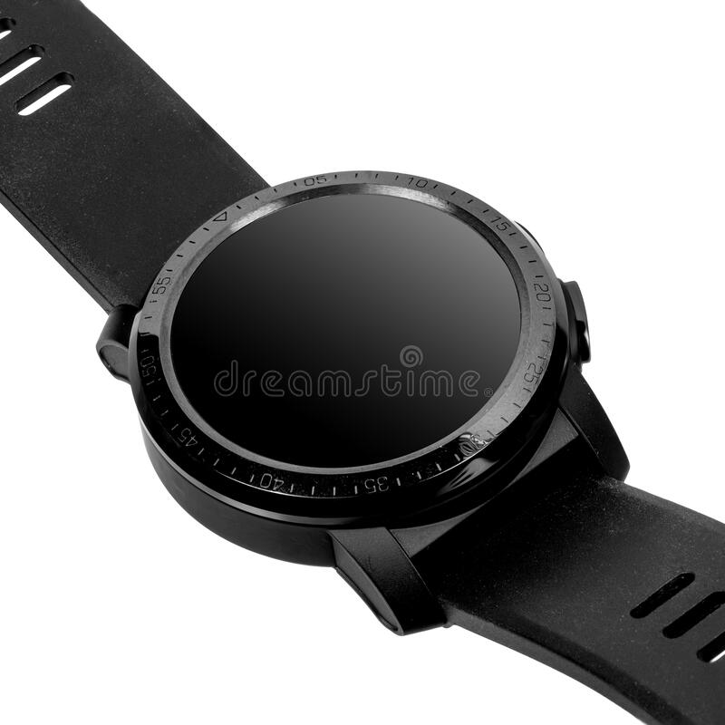 Wireless smart watch in a round glossy black case with numbers on the rim, buttons and a camera. And a silicone strap on a white background. Diagonal view royalty free stock images
