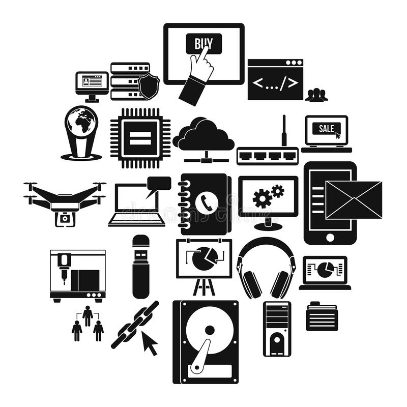 Wireless technologies icons set, simple style vector illustration