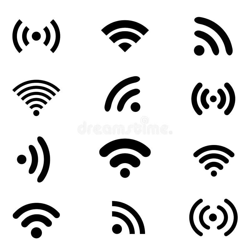 Wireless technology, black web icons set. Wireless technology, black flat web icons set royalty free illustration