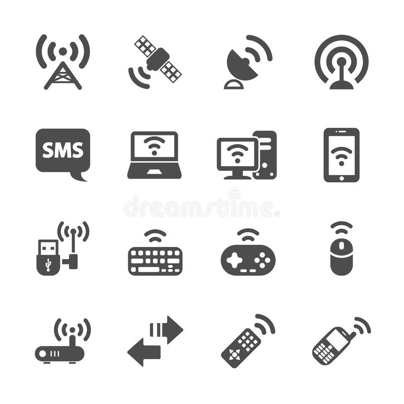 Wireless technology communication icon set, vector eps10 stock illustration