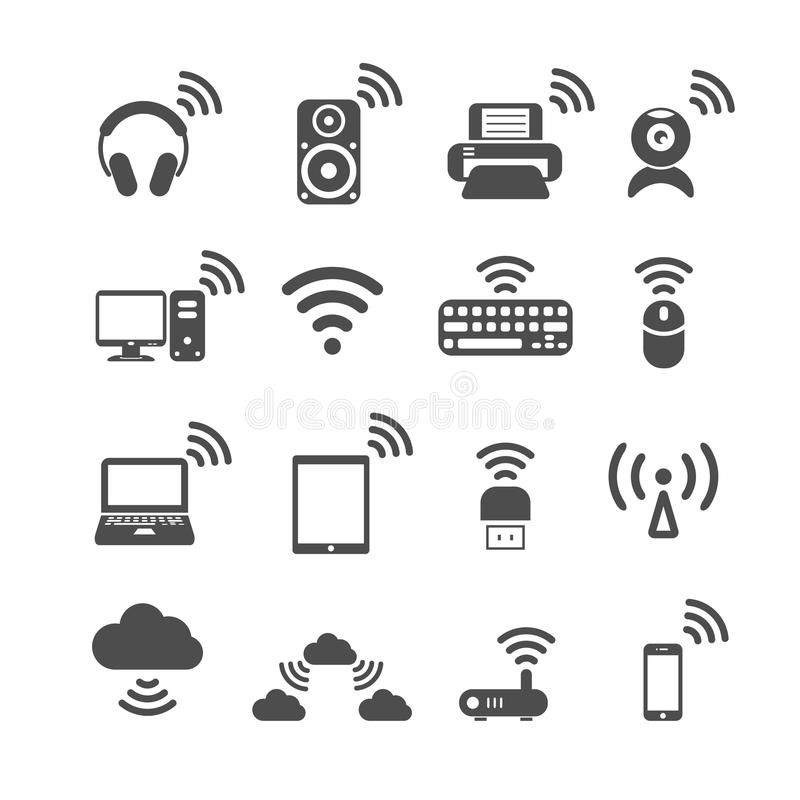 Wireless technology computer icon set, vector eps10. Wireless technology computer icon set, each icon is a single object (compound path), vector eps10