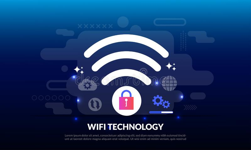 Wireless technology electronic devices internet access and connection to public WiFi hotspot to access internet, flat icon,. Suitable for web landing page stock illustration