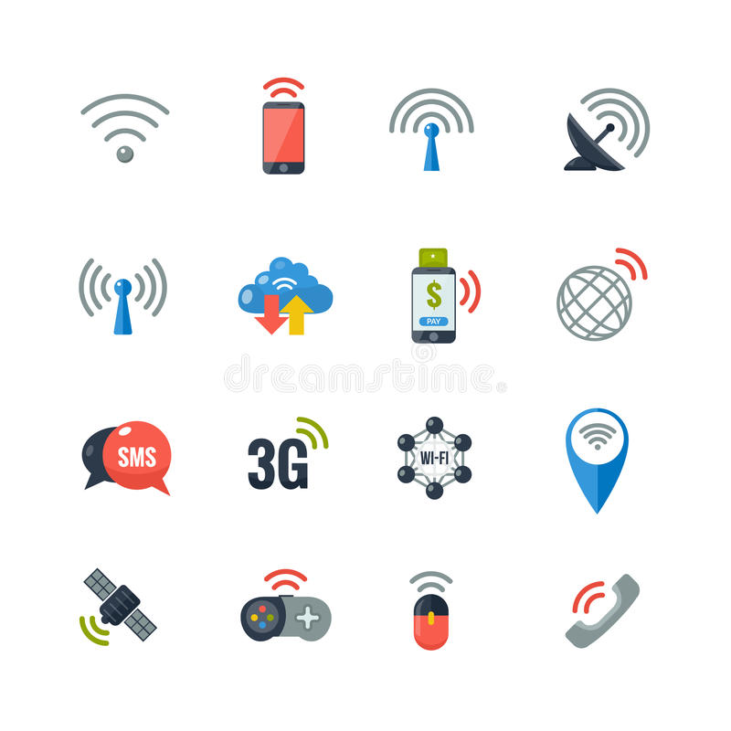 Wireless Technology Flat Icons Set vector illustration