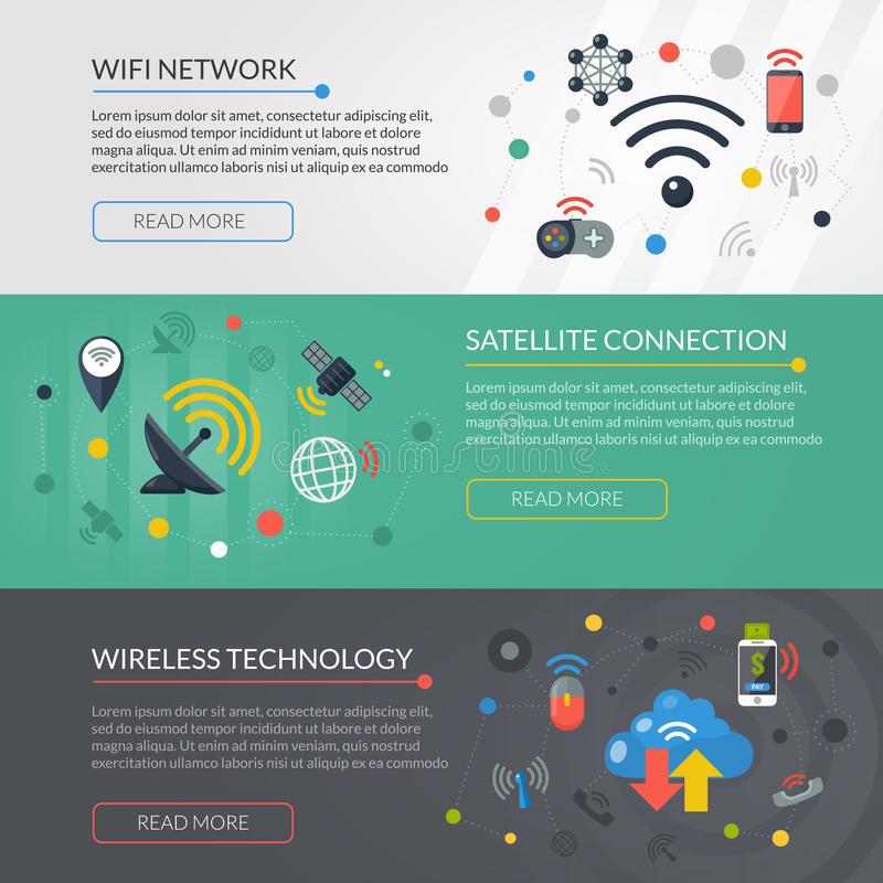 Wireless Technology 3 Horizontal Banners Set stock illustration
