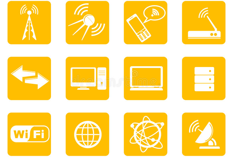 Wireless Technology icons. Twelve computer icons