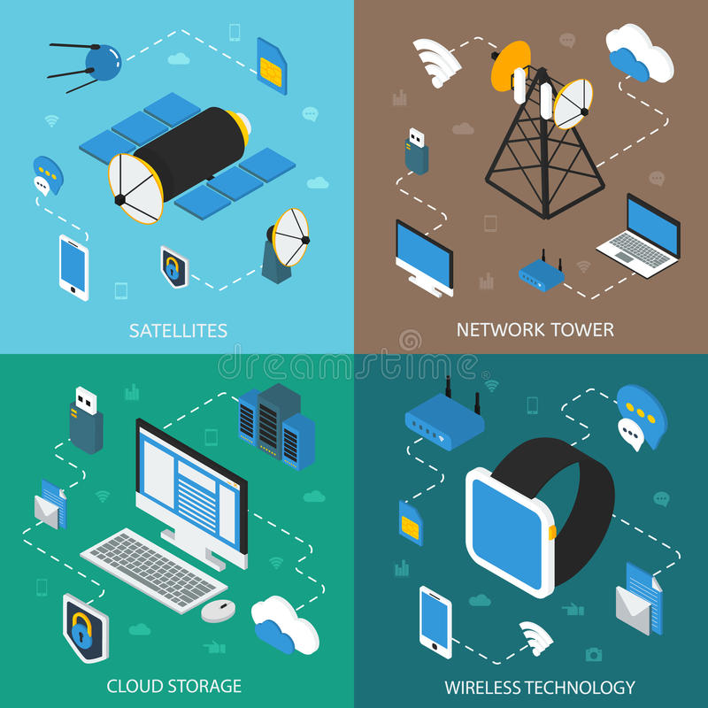 Wireless Technology Isometric Concept royalty free illustration