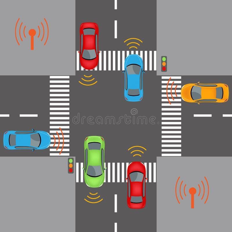 Wireless vehicle communications royalty free illustration