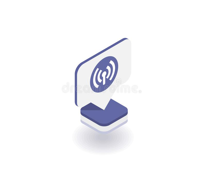 Wireless and wi-fi icon, vector symbol in flat isometric 3D style isolated on white background. Social media illustration vector illustration
