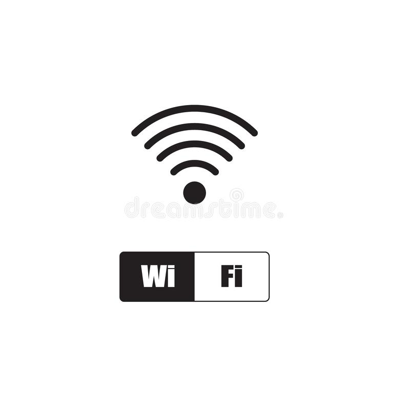 Wireless and wifi icon or wi-fi icon sign for remote internet access, Podcast vector symbol, vector illustration stock illustration