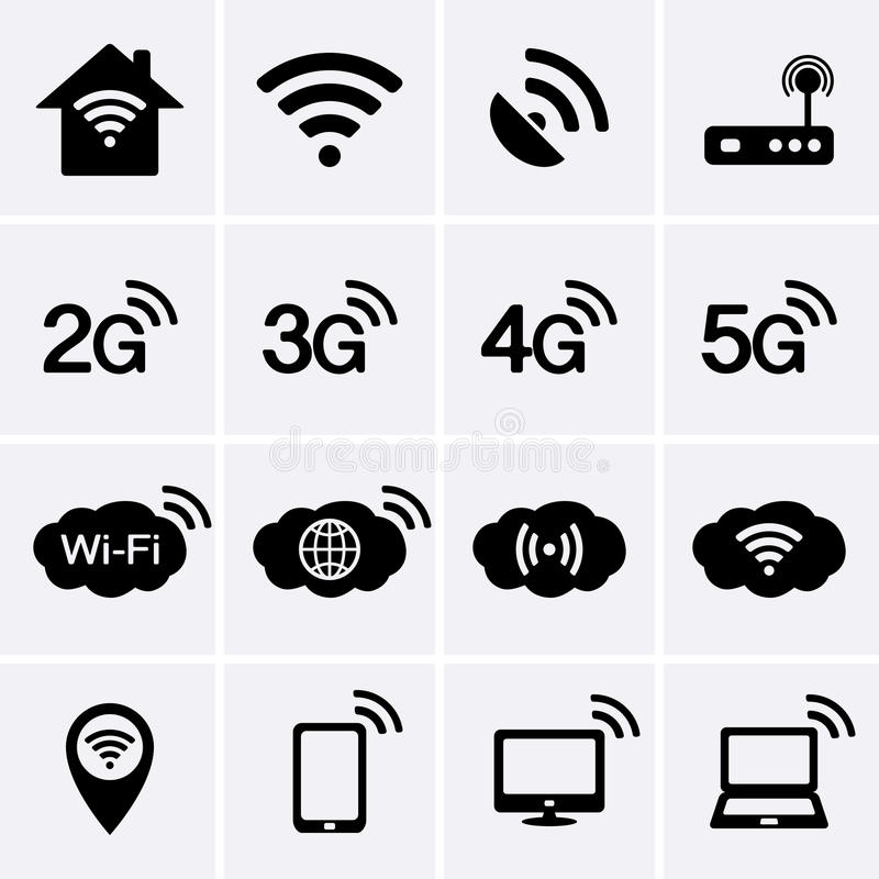 wireless and wifi icons  2g  3g  4g and 5g technology