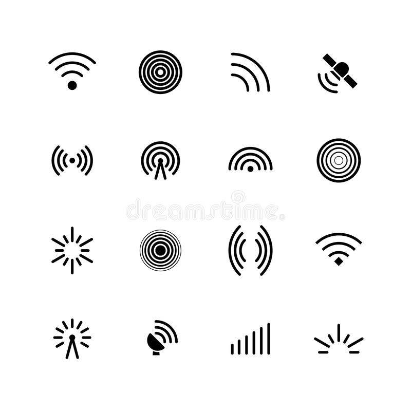 Wireless wifi and radio signals icons. Antenna, mobile signal and wave vector symbols isolated royalty free illustration