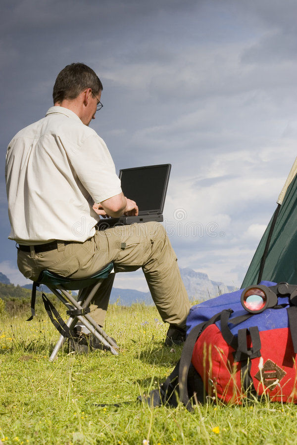 Wireless working stock image