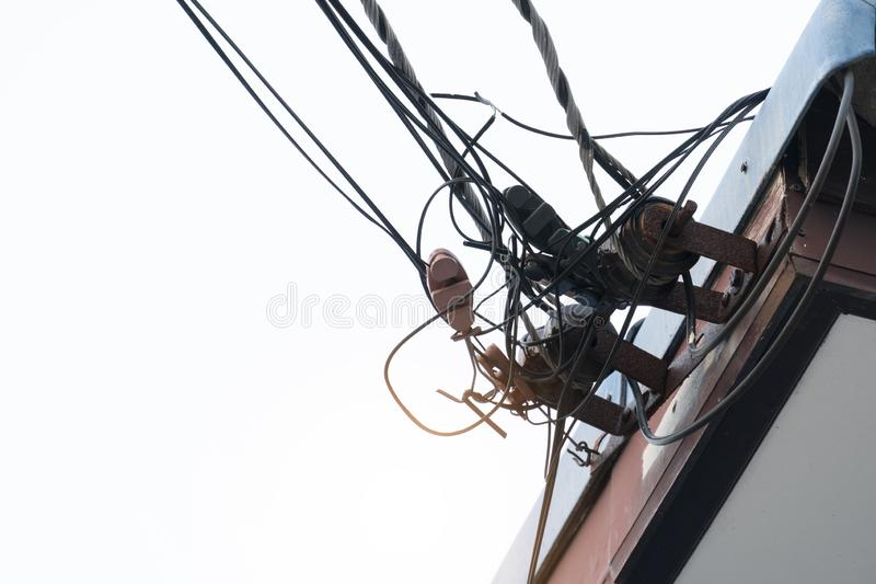 Wires cable on the roof. royalty free stock photo