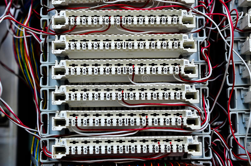 wires between circuit board at telephone exchange stock image rh dreamstime com Telephone Wiring Color Code Residential Telephone Wiring Diagram