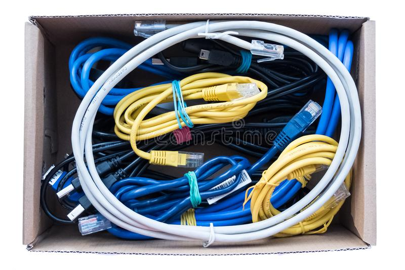 Wires, cords and cables are fixed in a box royalty free stock photos
