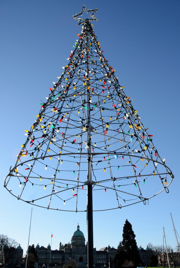 Wires In A Frame Of Decorated Christmas Tree Bigger Than The Par ...