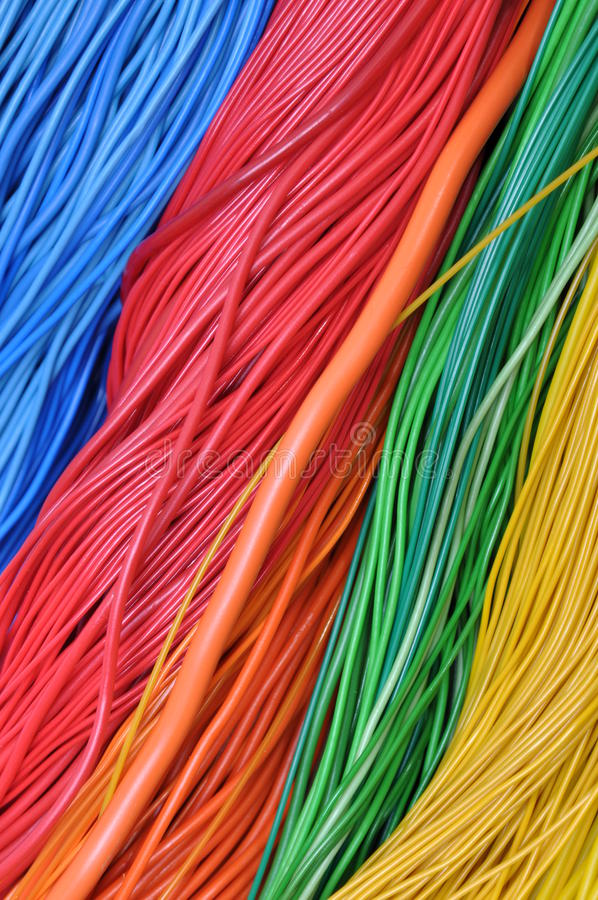 Wires in the global telecommunications networks. Colored wires in the global telecommunications networks stock images