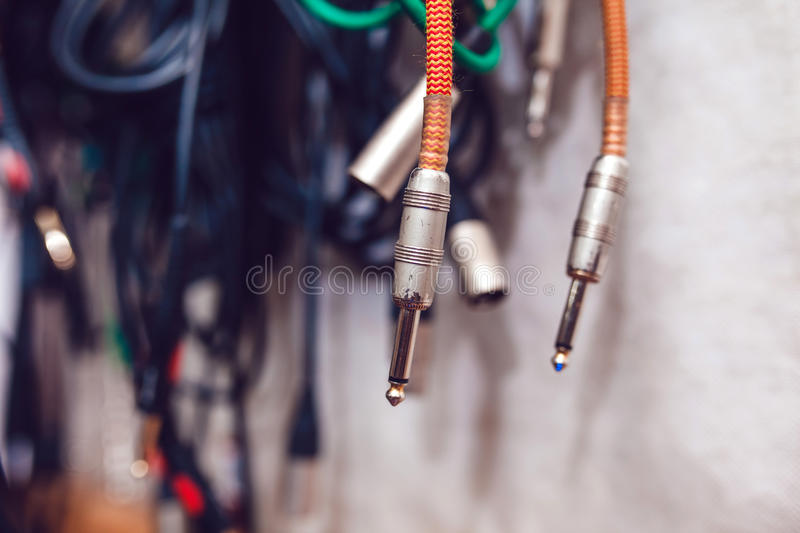 Wires from the guitar stock photo