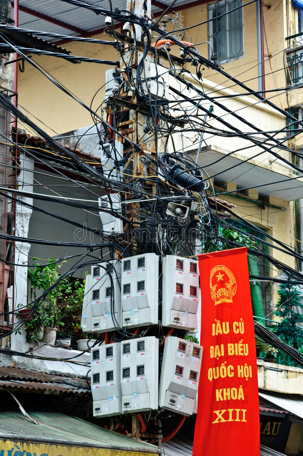 Wires In Hanoi Editorial Stock Image