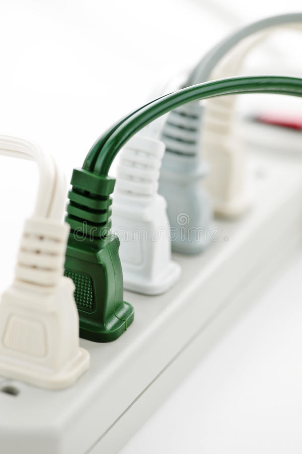 Free Wires Plugged Into Power Bar Royalty Free Stock Image - 15000346