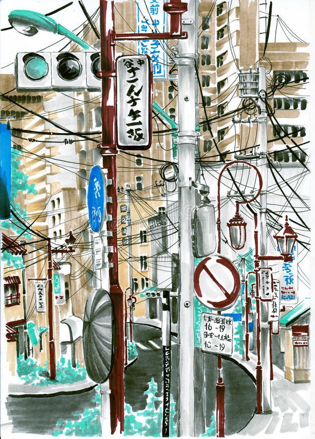 Wires and signs in Asia. Sketch markers. stock illustration