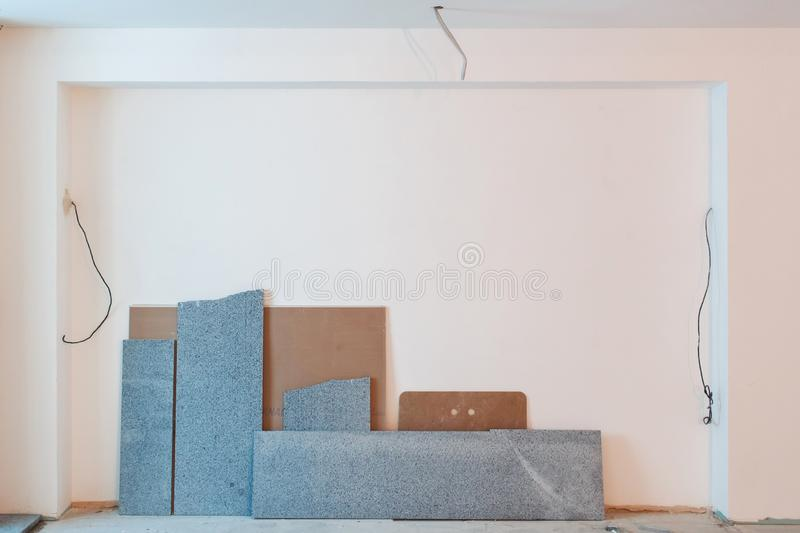 Wires, slabs and measurements at a construction site stock image