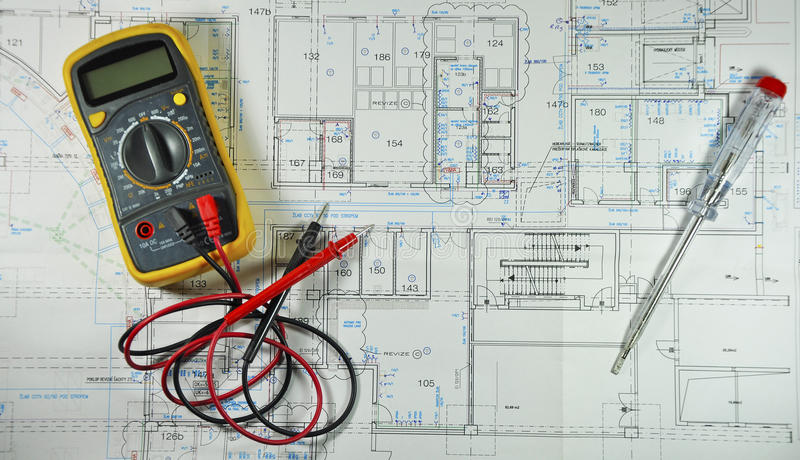 Wiring diagram. With tools stock photos