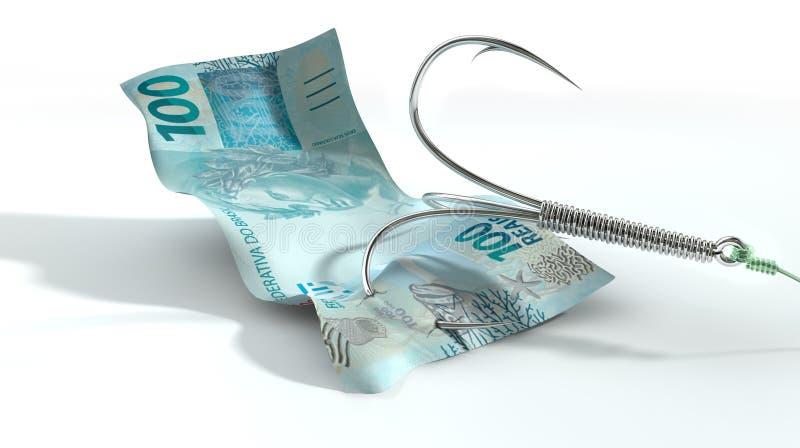 Wirkliche Banknote angelockter Haken stock abbildung