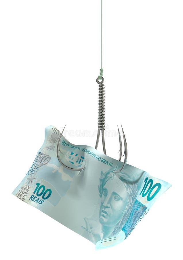 Wirkliche Banknote angelockter Haken stockbild