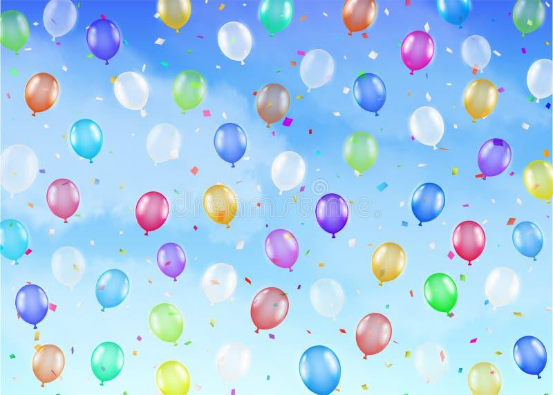 Wirkliche bunte Ballone, die auf hellen Himmel schwimmen vektor abbildung