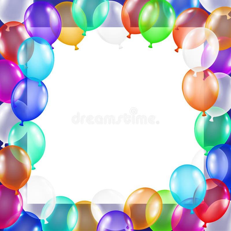 Wirkliche bunte Ballone mit Mittelkopienraum vektor abbildung