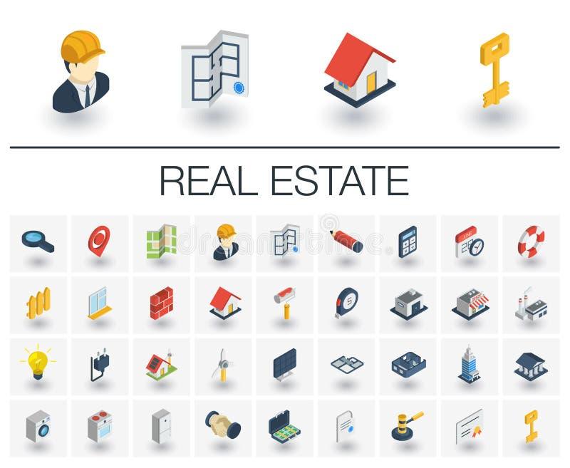 Wirkliche isometrische Ikonen Wohnung Estste und der Miete Vektor 3d lizenzfreie abbildung