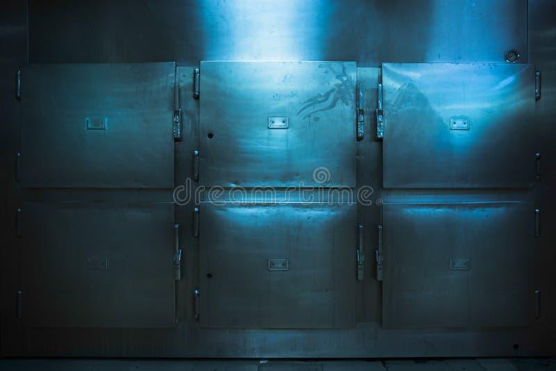 Wirkliche Leichenschauhausbehälter in einem zurückhaltenden Foto lizenzfreies stockbild
