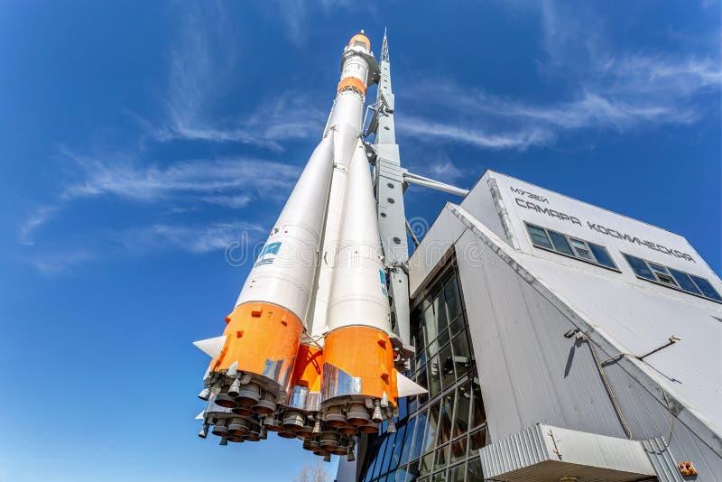 Wirkliche Soyuz-Art Raumfahrzeug als Monument stockfotografie