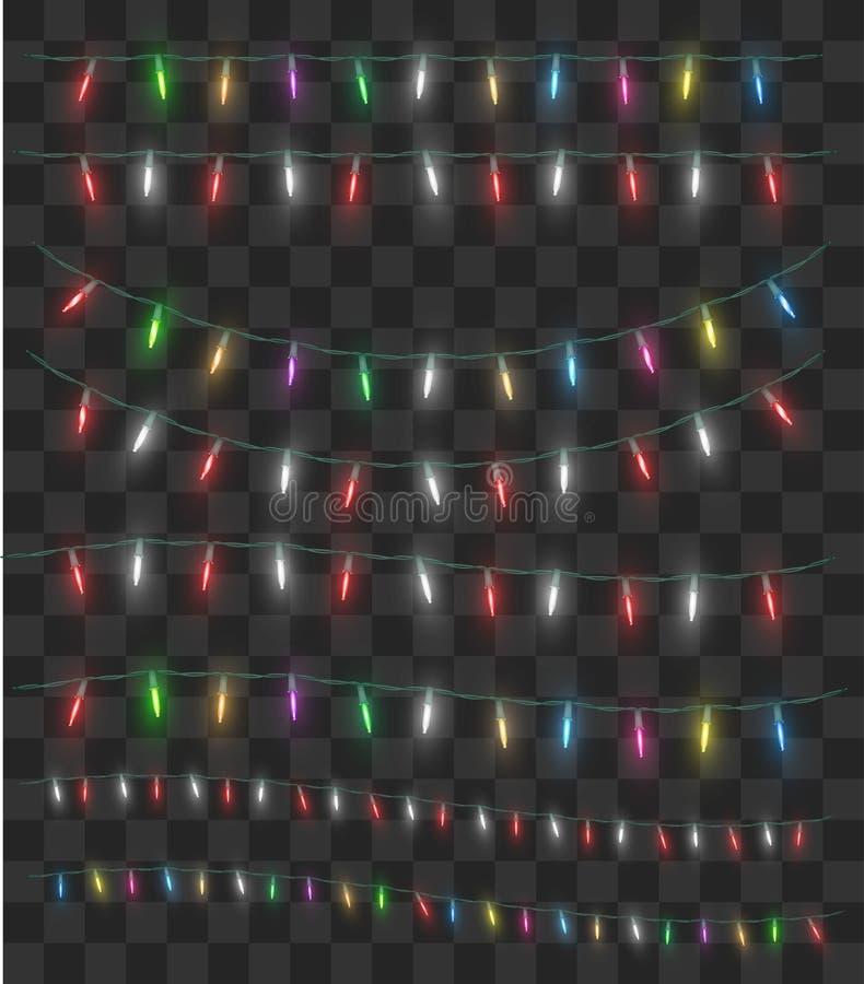 Wirklicher bunter dekorativer Vektor des Weihnachtslichtes vektor abbildung