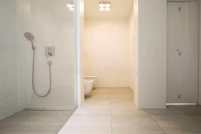 Wirkliches Foto des hellen Badezimmerinnenraums mit Glasdusche und sim stockbilder