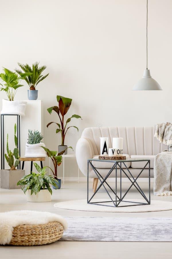 Wirkliches Foto eines beige Wohnzimmerinnenraums mit einer Sofastellung lizenzfreies stockfoto