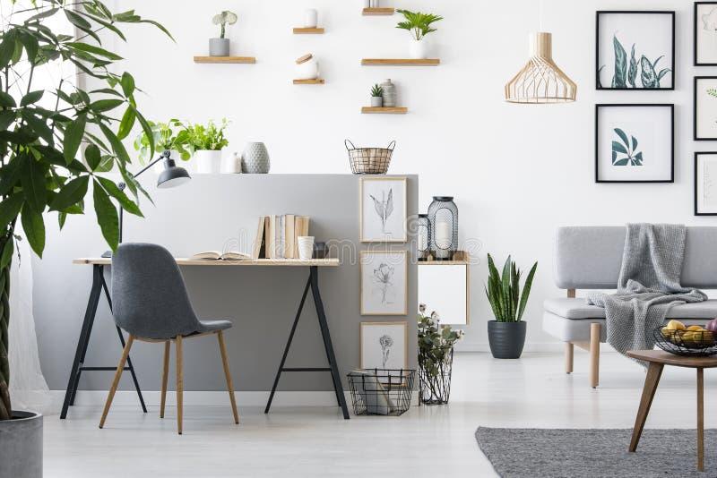 Wirkliches Foto eines Innenministeriuminnenraums mit einem Wohnzimmer Moderne Möbel und Malereien auf der Wand lizenzfreies stockbild