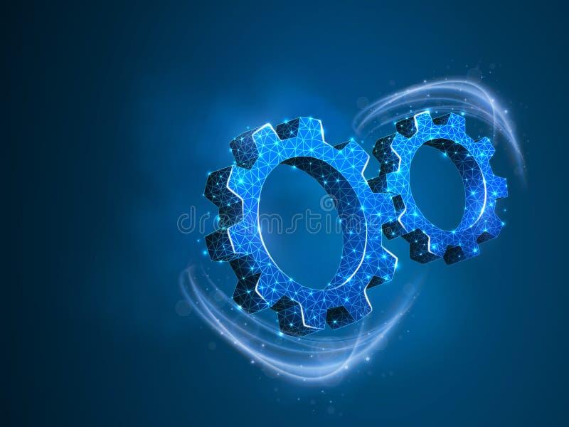 Wirować przekładnie Przemysł, parowozowa praca, biznesowego rozwiązanie technologii inżynierii maszynowego symbolu Wektorowy nisk royalty ilustracja