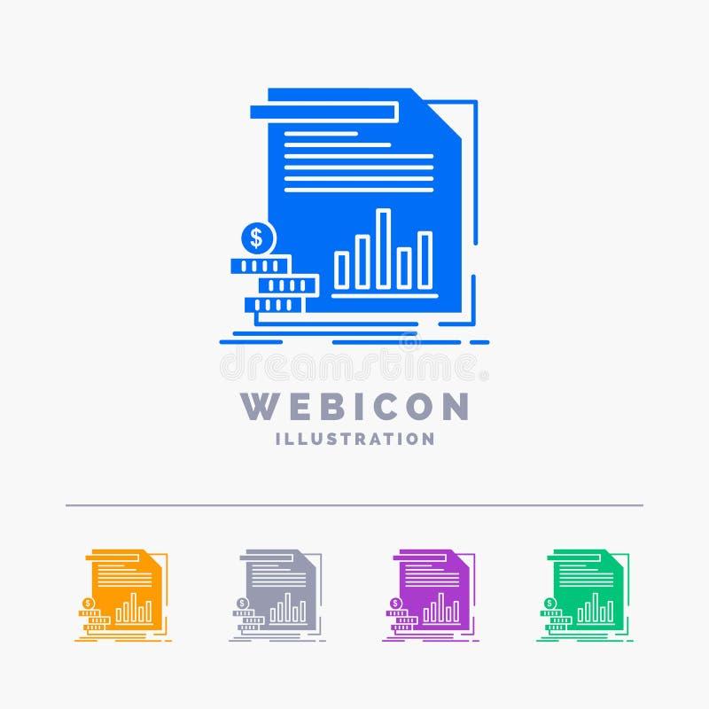 Wirtschaft, Finanzierung, Geld, Informationen, Berichte 5 Farbeglyph-Netz-Ikonen-Schablone lokalisiert auf Weiß Auch im corel abg vektor abbildung