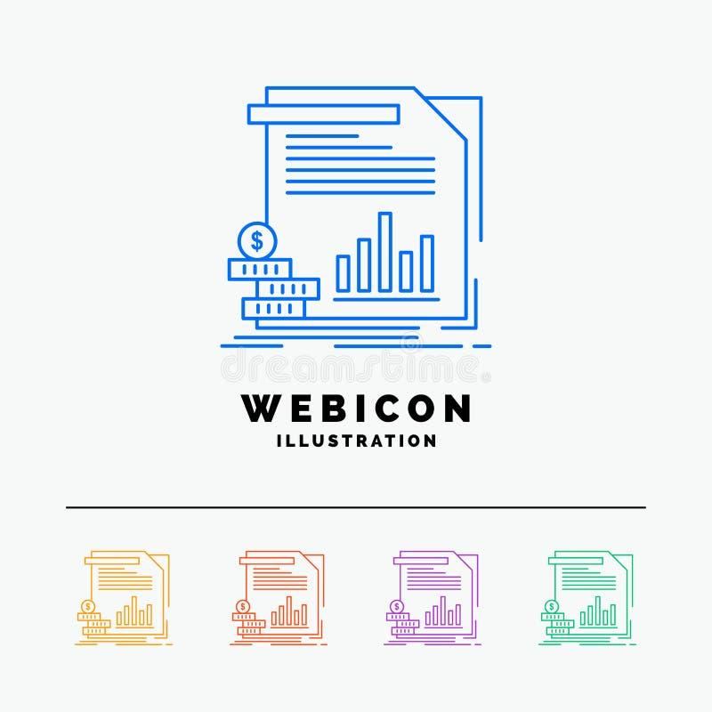 Wirtschaft, Finanzierung, Geld, Informationen, Berichte 5 Farblinie-Netz-Ikonen-Schablone lokalisiert auf Weiß Auch im corel abge stock abbildung