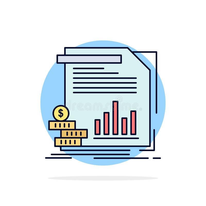 Wirtschaft, Finanzierung, Geld, Informationen, Berichte flacher Farbikonen-Vektor lizenzfreie abbildung
