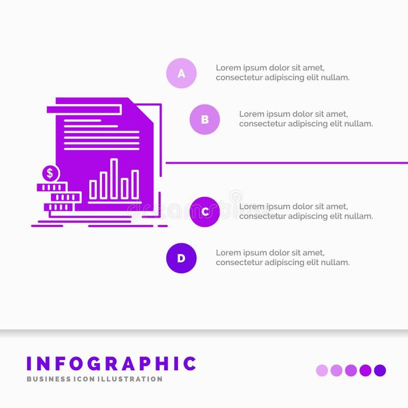 Wirtschaft, Finanzierung, Geld, Informationen, Berichte Infographics-Schablone f?r Website und Darstellung Purpurrote Ikone des G stock abbildung